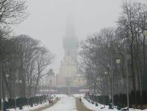 Czestochowa-Architektur am nebeligen Tag lizenzfreies stockbild