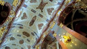 The vault of Cathedral of Jasna Gora Monastery, Czestochowa, Poland. CZESTOCHOWA, POLAND - JUNE 12, 2018: The ornate vault in Basilica of Holy Cross and Nativity stock video footage