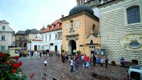 Pilgrims at Holy Cross Basilica of Jasna Gora Monastery, Czestochowa, Poland. CZESTOCHOWA, POLAND - JUNE 12, 2018: The pilgrims at the courtyard of Jasna Gora stock video footage