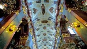 In Holy Cross Basilica of Jasna Gora Monastery, Czestochowa, Poland. CZESTOCHOWA, POLAND - JUNE 12, 2018: The splendid interior of Basilica of Holy Cross and stock video