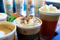 Delicious coffee drinks at McDonald`s stock photography
