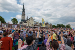 CZESTOCHOWA, POLAND - May 21, 2016: Vigil Catholic Charismatic R. Enewal meeting Czestochowa Poland, in front of Jasna Gora, Anniversary, May 21, 2016 Royalty Free Stock Photography