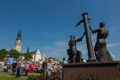 CZESTOCHOWA, POLAND - May 21, 2016: Vigil Catholic Charismatic R. Enewal meeting Czestochowa Poland, in front of Jasna Gora, Anniversary, May 21, 2016 Stock Photography