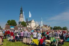 CZESTOCHOWA, POLAND - May 21, 2016: Vigil Catholic Charismatic R. Enewal meeting Czestochowa Poland, in front of Jasna Gora, Anniversary, May 21, 2016 Royalty Free Stock Photos