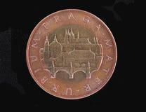 50 CZK coin. 50 Czech korun CZK from Czech Republic bearing Prague landmarks Royalty Free Stock Photo