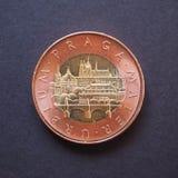 50 CZK coin. 50 Czech korun CZK from Czech Republic bearing Prague landmarks Stock Photos