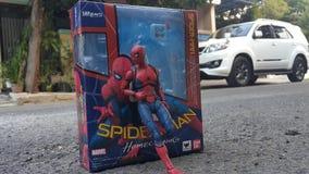 Czlowiek-pająk powrotu do domu kostium fotografia stock