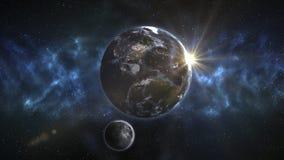 Czołowy widok planety Ziemska i Na orbicie księżyc Elementy royalty ilustracja