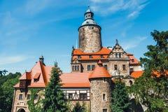 Czochakasteel op blauwe hemel, Polen Stock Afbeelding