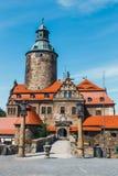 Czochakasteel op blauwe hemel, Polen Stock Fotografie