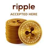 czochra Akceptujący szyldowy emblemat Crypto waluta Sterta złote monety z czochra symbolem odizolowywającym na białym tle 3D isom royalty ilustracja