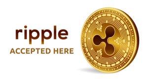 czochra Akceptujący szyldowy emblemat Crypto waluta Złota moneta z czochra symbolem odizolowywającym na białym tle 3D isometric b royalty ilustracja