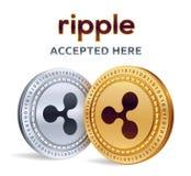 czochra Akceptujący szyldowy emblemat Crypto waluta Złote i srebne monety z czochra symbolem na białym tle 3D isometr royalty ilustracja