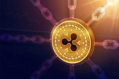czochra Crypto waluta Blokowy łańcuch 3D czochry isometric Fizyczna moneta z wireframe łańcuchem Blockchain pojęcie Editable Cryp ilustracji