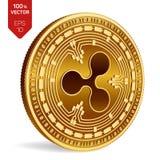 czochra 3D badania lekarskiego isometric moneta Cyfrowej waluta Crypto waluta Złota moneta z czochra symbolem na bielu ilustracji