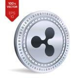 czochra 3D badania lekarskiego isometric moneta Cyfrowej waluta Cryptocurrency Srebna moneta z czochra symbolem również zwrócić c royalty ilustracja
