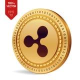 czochra 3D badania lekarskiego isometric moneta Cyfrowej waluta Cryptocurrency Złota moneta z czochra symbolem odizolowywającym n ilustracji