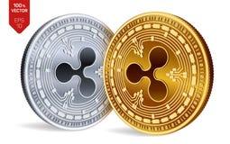 czochra 3D badania lekarskiego isometric monety Cyfrowej waluta Crypto waluta Złote i Srebne monety z czochra symbolem royalty ilustracja