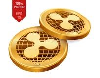 czochra 3D badania lekarskiego isometric monety Cyfrowej waluta Crypto waluta Złote monety z czochra symbolem odizolowywającym na Obraz Royalty Free