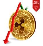 czochra upadek strzała puszka czerwień Czochra wskaźnika ocena iść puszek na wekslowym rynku Crypto waluta 3D isometric Fizyczna  royalty ilustracja