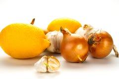 Czosnek, cytryna i cebula jako naturalna medycyna, Obraz Stock