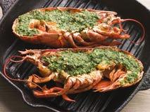 czosnek grillowany w połowie homarów Fotografia Royalty Free