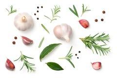 Czosnek, rozmaryny, zatoka liście, Allspice i pieprz Odizolowywający na Wh, fotografia royalty free