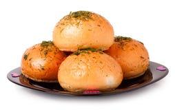 Czosnku chleb na talerzu odizolowywającym zdjęcia royalty free