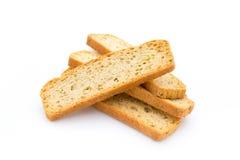 Czosnku i ziele chlebowi plasterki Eco jedzenie zdjęcie royalty free