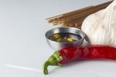 Czosnku olej i chili spaghetti Zdjęcie Stock