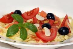 czosnku oliwny makaronu pomidor Obrazy Stock