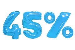 Czterdzieści pięć procentów od balonu błękitnego koloru zdjęcie royalty free