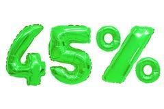 Czterdzieści pięć procentów od balonu zielonego koloru obraz royalty free