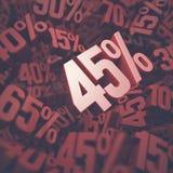 Czterdzieści pięć procentów rabat Fotografia Royalty Free