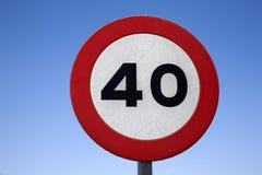 Czterdzieści prędkości znak Obraz Royalty Free