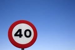 Czterdzieści prędkości znak zdjęcie royalty free