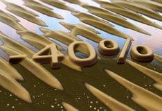 Czterdzieści procentów redukcja pisać na piasku zdjęcie royalty free