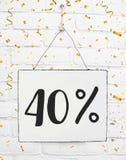 Czterdzieści 40% procent z czarnej Piątek sprzedaży 40% dyskontowej złotej normy zdjęcia royalty free