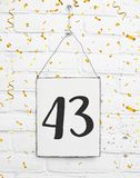 43 czterdzieści trzy lat rocznicowego przyjęcia urodzinowego congratulati zdjęcia royalty free