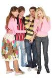 czterech przyjaciół grymasu śmiech Obrazy Stock