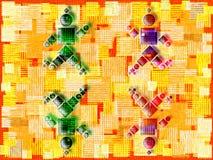 Cztery łyżwiarek rolkowy bawić się Obraz Stock