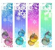 Cztery abstrakcjonistycznego pionowo zima sztandaru z piłkami Zdjęcia Royalty Free