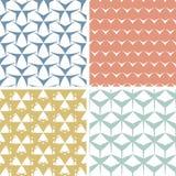 Cztery abstrakcjonistycznego zirytowanego geometrycznego różowego bezszwowy Zdjęcie Stock