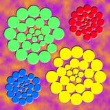 Cztery abstrakt czerwieni zieleni błękitnej żółtej spirali na purpurach chmurnieją tło Spirale lokalizować przy kątami ilustracja Obraz Royalty Free