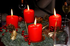 Cztery Adwentowej świeczki Fotografia Stock
