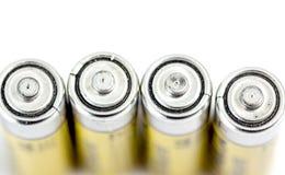 Cztery alkalicznych baterii AA rozmiar z płycizną dof Zdjęcia Stock