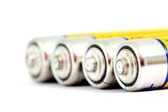 Cztery alkalicznych baterii AA rozmiar z płycizną dof Zdjęcia Royalty Free