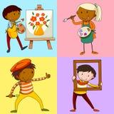 Cztery artysty maluje obrazek ilustracja wektor