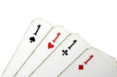 Cztery as karta na białym tle Obrazy Royalty Free