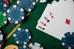 cztery as w partii pokeru Zdjęcia Royalty Free